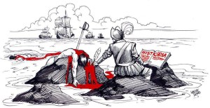 A political cartoon depicting how today's history textbooks are revised to reflect the perspective of the conquerors with the blood of the conquered. Source unknown.