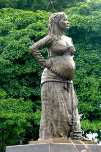 A statue in Guadeloupe of a pregnant La Mulâtresse Solitude, a maroon Black woman who fought French rule in the Caribbean island of Guadeloupe, even during her pregnancy. Source unknown.