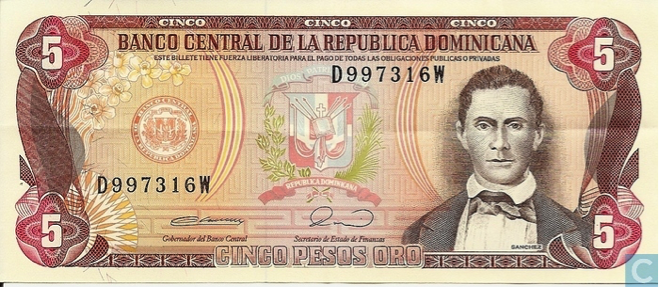 The RD$5 bill with Sanchez' face was printed during the Joaquín Balaguer era. Source: http://www.bancentral.gov.do/billetes_monedas/historia_billetes.html