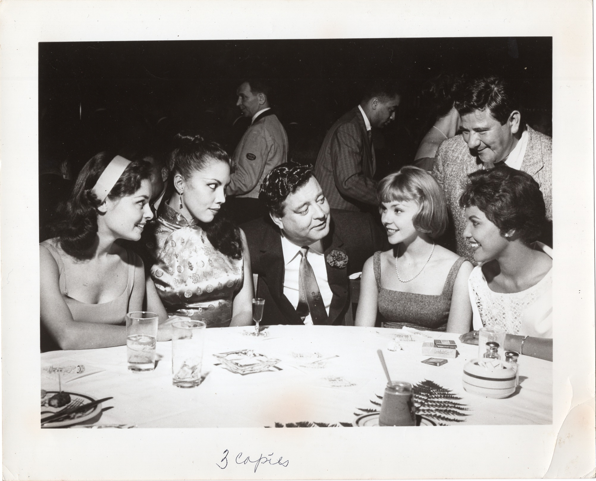 From left to right: Jeanne Rejaunier, Carmen Austin, Jackie Gleason, Lorna Gillam, Buddy Hackett, and Lourdes Guerrero. Courtesy of Lourdes Guerrero Otis for LGM